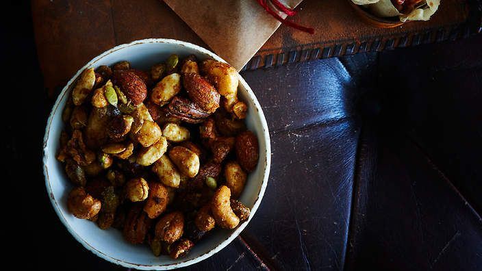The perfect accompaniment to a tipple or two? Indian spiced #nuts. Recipe from the food dept. (recipe by Sally Courtney, photography by Petrina Tinslay, styling by David Morgan and art direction by Anne Marie Cummins).