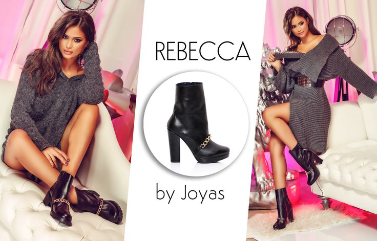 Black short boots with high heels and a golden accessory@joyasromania