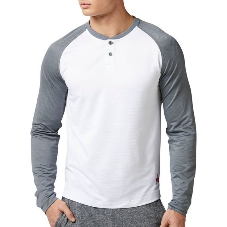 Reebok Men's X JJ Watt Henley Long Sleeve Shirt, White