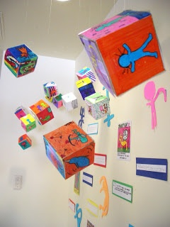 3-D cubes inspired by Keith Haring