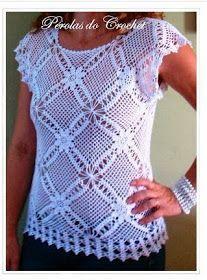DE MIS MANOS TEJIDOS Y MAS...: Blusa blanca a crochet