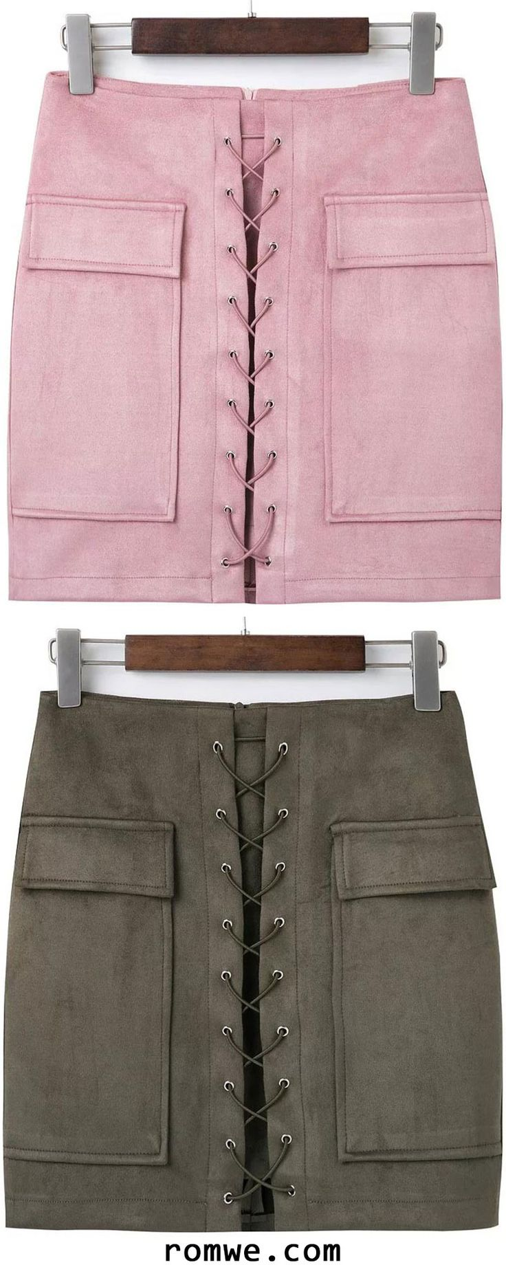 Lace Up Suede Skirt With Pocket