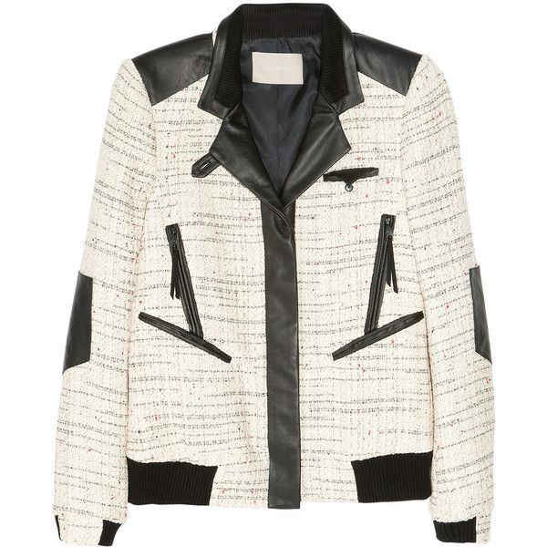 Jason Wu Leather-trimmed tweed bomber jacket ($2,640) ❤ liked on Polyvore