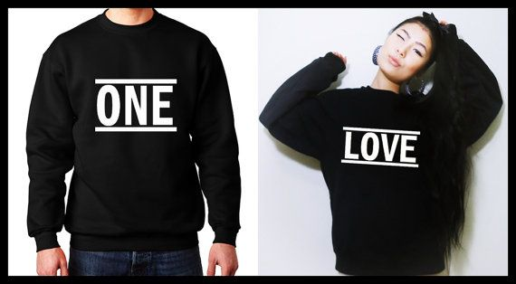 One Love matching couple sweatshirts. His and Hers shirts. Matching couple set…