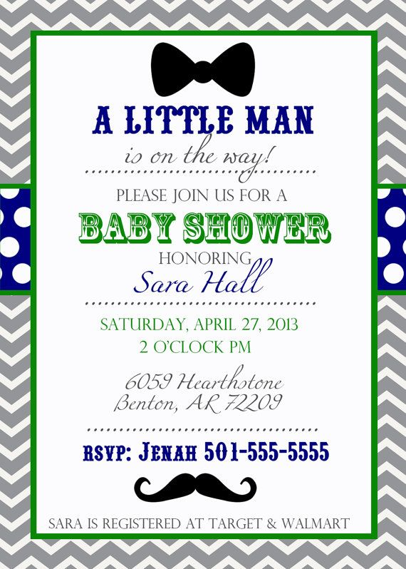 Good Mustache And Bow Tie Baby Shower Invitations Part - 10: Little Man Mustache And Bow Tie Printable Shower Invitation