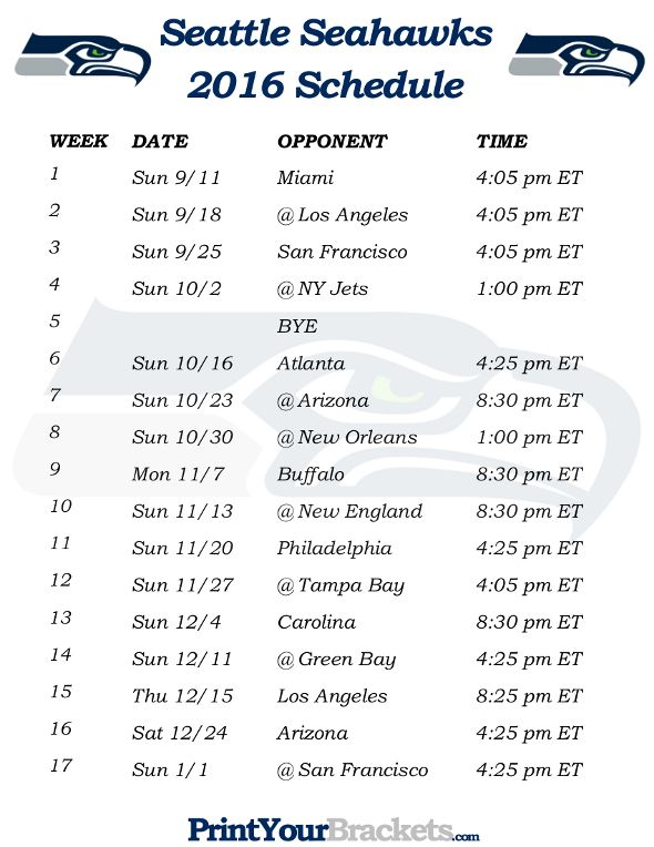 Printable Seattle Seahawks Schedule - 2016 Football Season