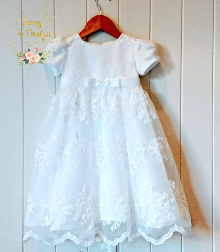 Beautiful Ivory Lace Baby Baptism Dress Christening Dress Baby Girl long Length  Dress with Capp sleeve by Ivorybydesign on Etsy