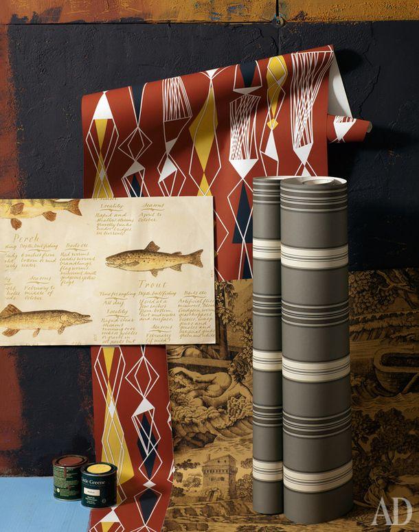 Слева направо: обои European Freshwater Fishes, бумага, Lewis &Wood, €1080 зарулон; матовые краски для стен (ими же выкрашены стены), акрил, Little Greene, 3500руб. за 5 литров; обои Eco Revival 5682, флизелин, Eco Wallpaper, 1960руб. за рулон; обои Oscar, бумага, Watts ofWestminster, цена позапросу; полосатые обои Dunston Stripe, бумага, Ralph Lauren Home, €202 зарулон.