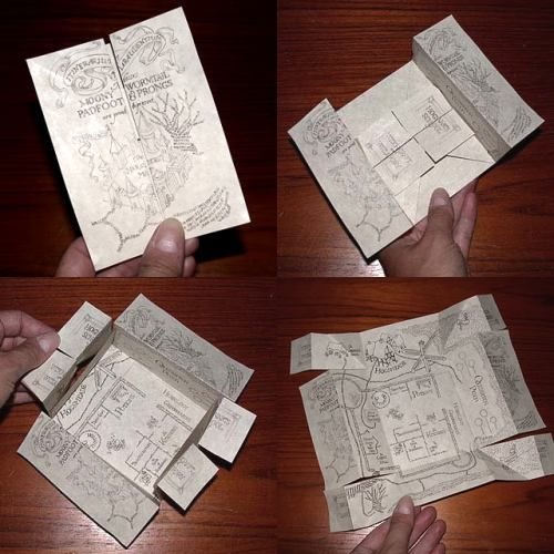 DIY Mini Harry Potter Marauder's Map with instructions (made for a birthday party)