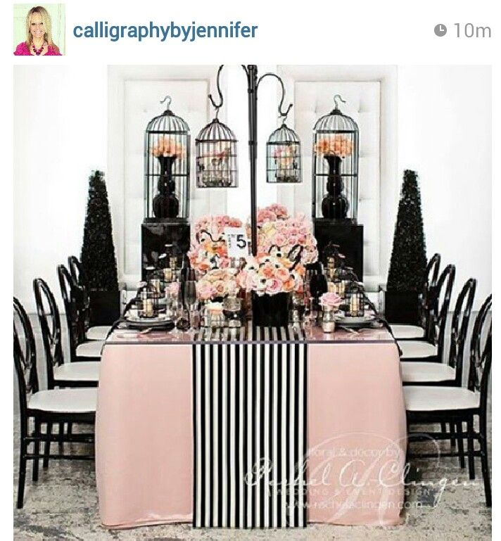 Pink And Black Wedding Ideas: Blush Pink Paris Tablescape With Black And White Stripe