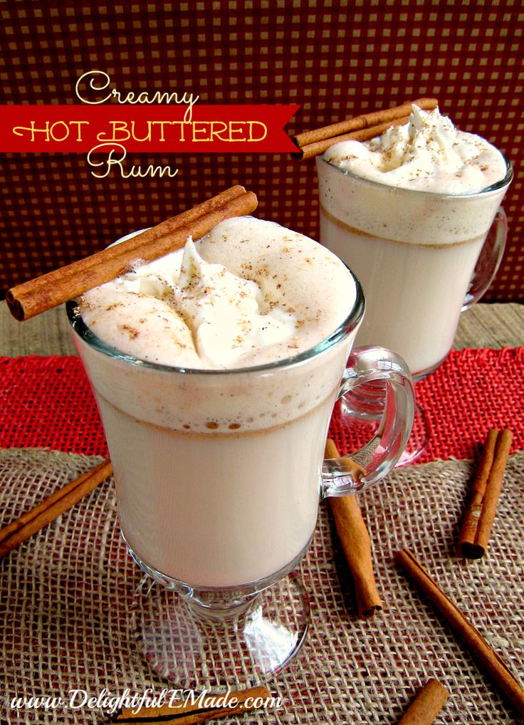 Creamy Hot Buttered Rum | www.DelightfulEMade.com | Kick back and relax with this amazing hot cocktail - So Amazing!! | #rum #drink #cocktail