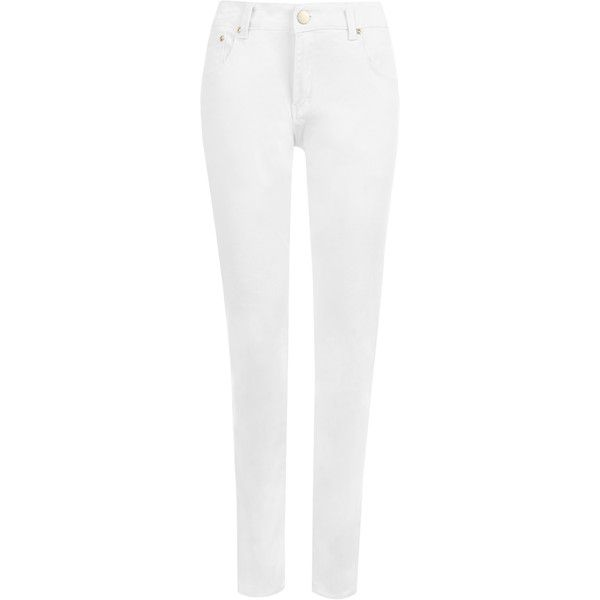 Rene White Skinny Leg Jeans (€32) ❤ liked on Polyvore featuring jeans, pants, bottoms, plus size, white, zipper skinny jeans, zipper jeans, womens plus size jeans, super skinny jeans and skinny fit denim jeans
