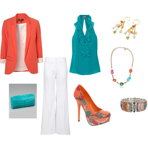 Bright and Cheery.: Colors Combos, Color Combos, Outfits Style Makeup, Colors Schemes, Cute Summer Outfits, Closet, Coral Jacket, Bright Summer Outfits, Bright Colors