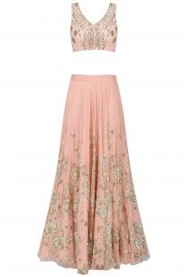 Peach Zari and Sequins Floral Embroidered Lehenga Set