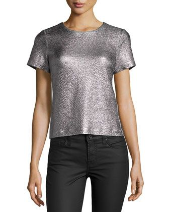 Textured+Metallic+Short-Sleeve+Top+by+Rebecca+Taylor+at+Neiman+Marcus.
