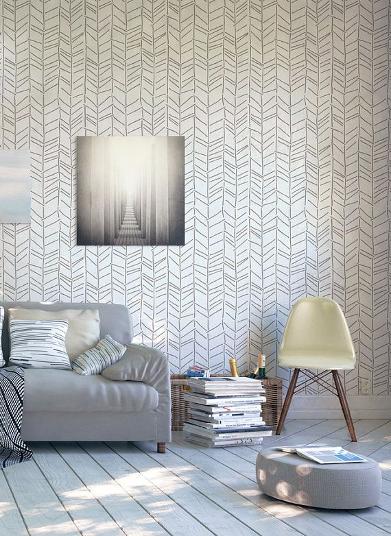 Herringbone handdrawn wall stencil - Decorative Scandinavian stencil for walls - Large stencils - Wallpaper look - Easy home decor