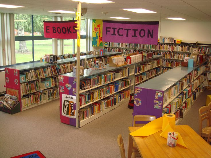 Elementary+Library+Decoration+Themes | Shelving was organized in long runs and identified by homemade signage ...