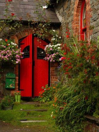 .: Red Doors, The Doors, Secret Gardens, Window, Color, Front Doors, Gardens Doors, County Corks Ireland, Kinsal Ireland