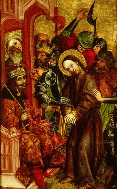 Христос перед Пилатом. Картина неизвестного автора. Веленье, 1463 год В образе Пилата изображен Влад III. © National Gallery of Slovenia
