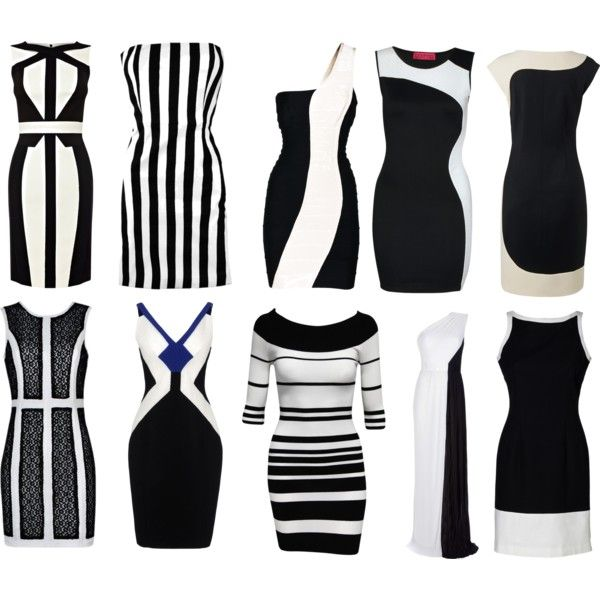 """Black and white party dresses"" by anne-soulangel on Polyvore"