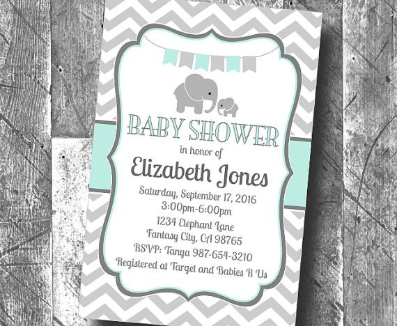 8 best baby shower images on pinterest shower ideas dcor and mint green grey chevron elephant baby shower personalized invitation digital printable pdf boy or girl gender stopboris Image collections