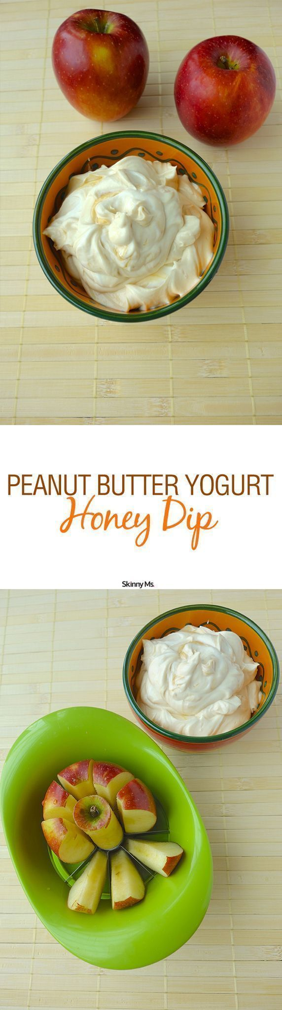 Just three ingredients make up this delicious and nutritious snack--Peanut Butter, Yogurt, Honey Dip! #cleaneating