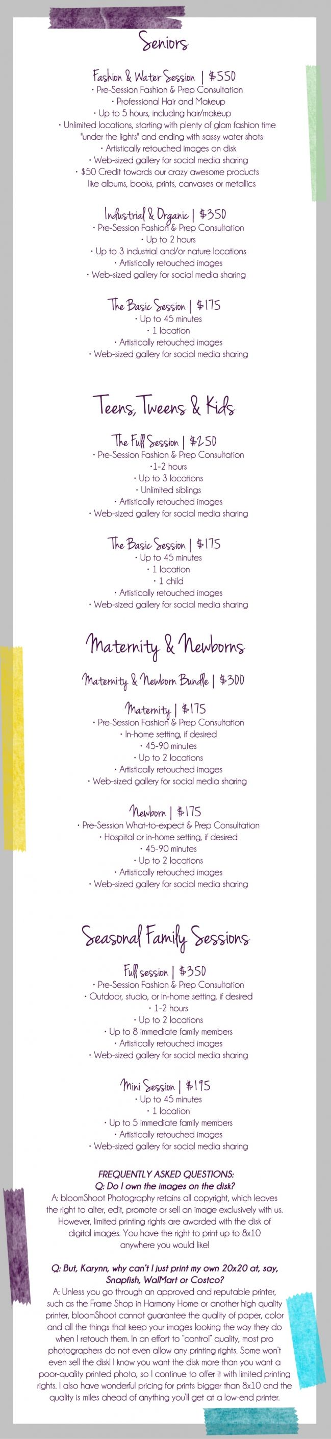 Cute price list - photography  2013-2014 Pricing Menu » bloomshoot.com