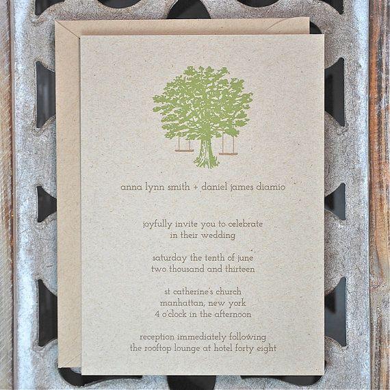 Recycled Wedding Invitations . Wedding Invites . Rustic Wedding Invitations . Tree Wedding Invitations - Swing With Me. $2.50, via Etsy.