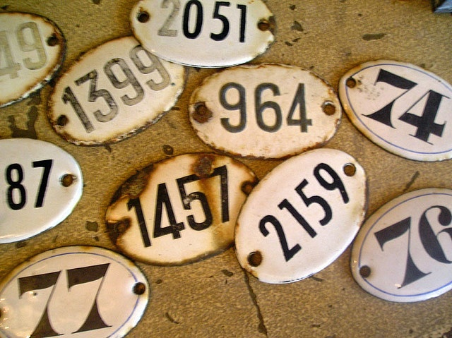 French enamel numbers from the European Antique Market