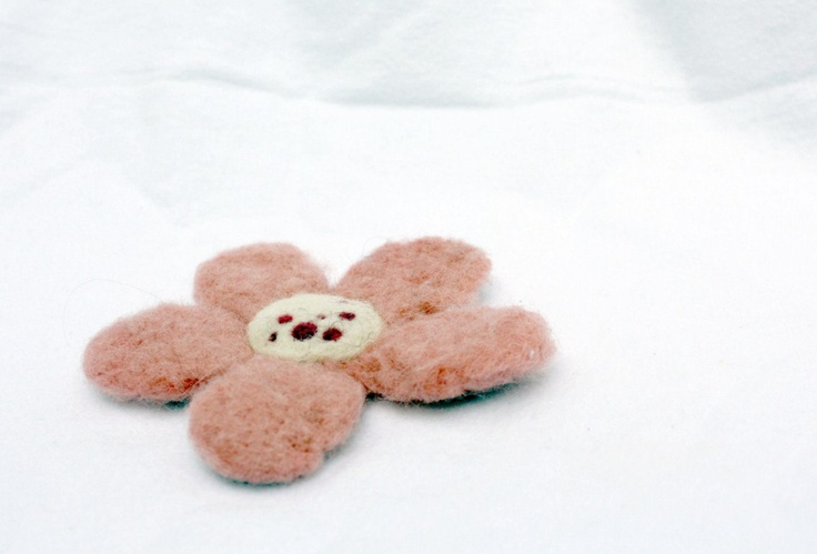 Light Pink DeeDee - daisy flower with freckles - Needle felted brooch. $16.00, via Etsy.