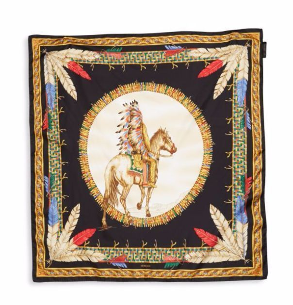 Versace Tribal Chief On Horse Black Gold Scarf Foulard Ifo9R01 It00905 I7910