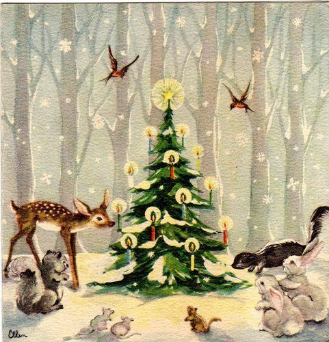 Christmas card vintage forest tree deer skunk bird robin  rabbit