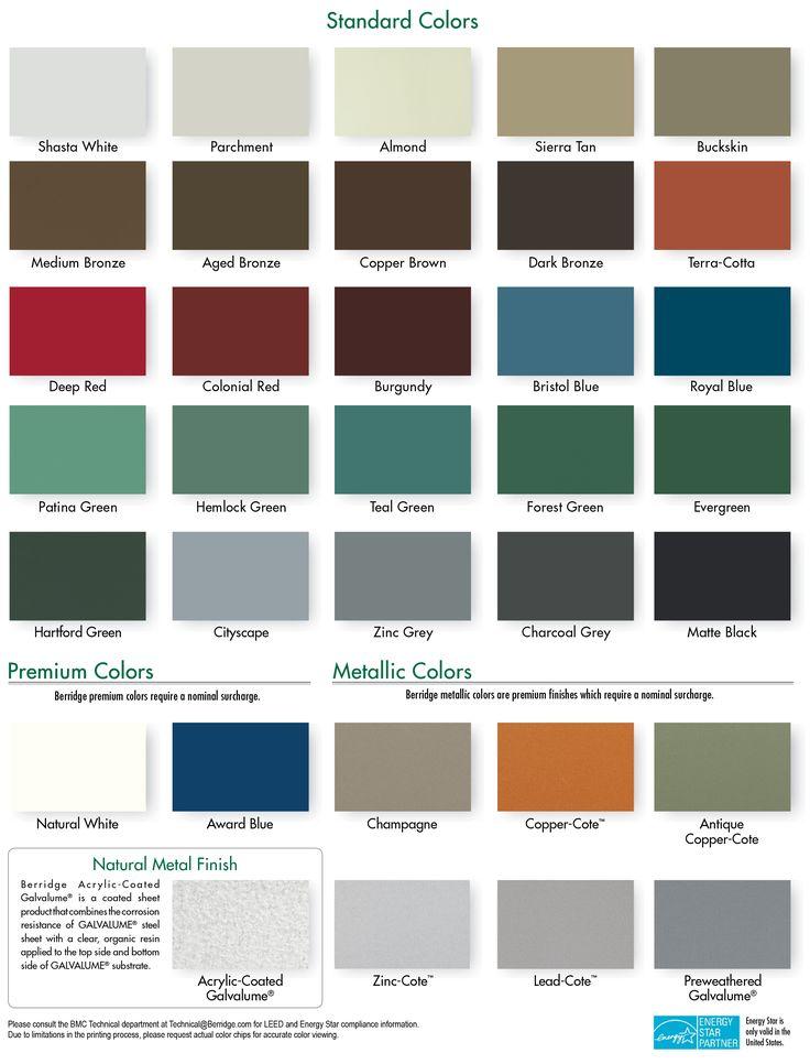 Best Berridge Cool Roofing Color Chart Metal Roof Colors 400 x 300