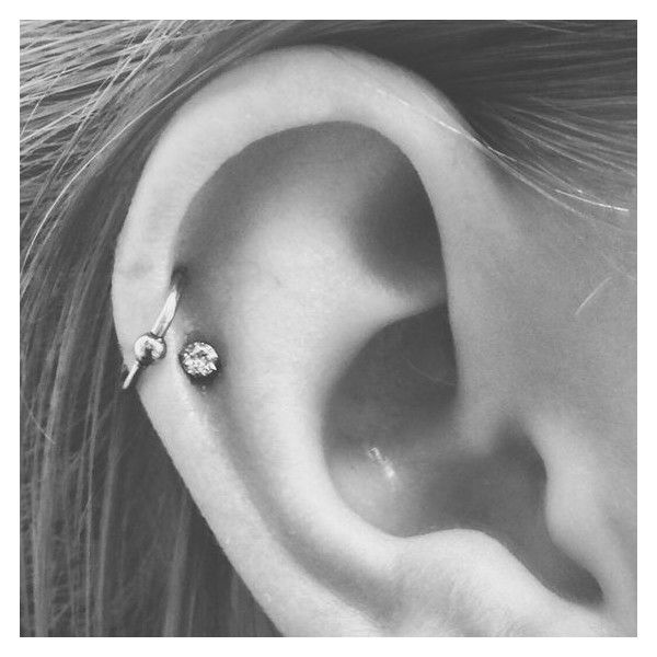 Double helix, double cartilage piercing, hoop and stud ❤ liked on Polyvore…