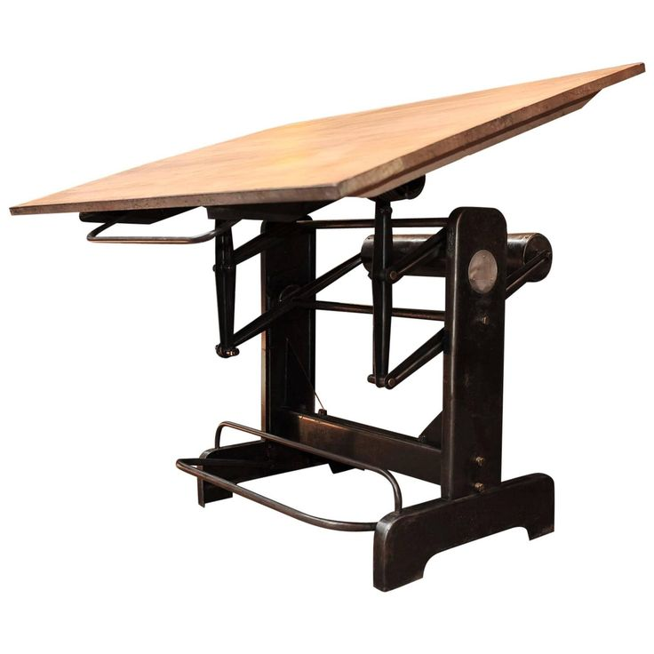 Industrial Nike Drafting Table Ca 1950: Industrial Adjustable French Architect's Drafting Table