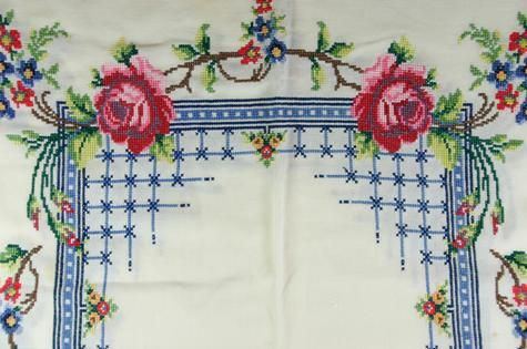 Table Cloth - White with Cross Stitch Embroidery, circa 1940s