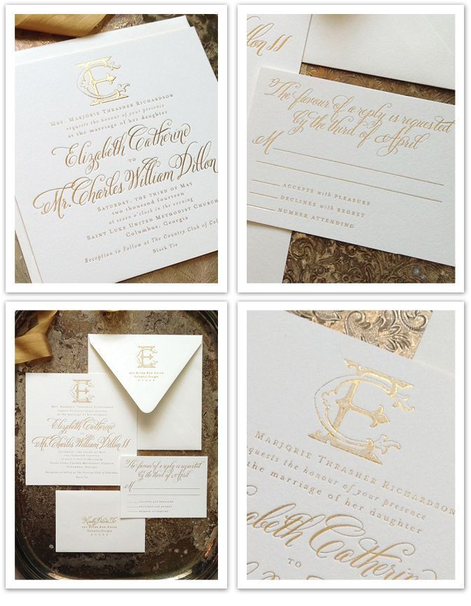 Gold Foil Letterpress Wedding Invitation Custom Monogram