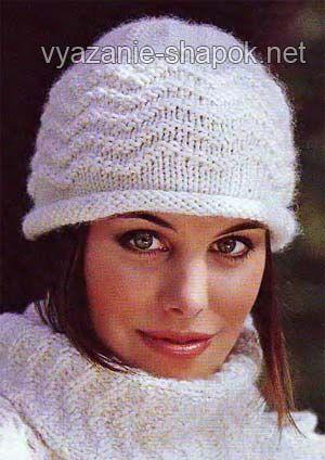 женская шапка спицами схема   Схемы вязания шапок, Вязаные ...