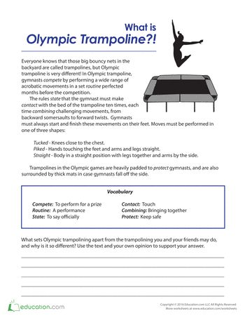 These reading and writing worksheets are a fun and educational companion to the Summer Olympic Games. From reading comprehension worksheets about Olympic history to writing prompts that challenge kids to think big, we've got the Summer Games covered. The Olympics is always a fun theme for kids, and covers multiple subjects at once, including language arts, social studies and geography.