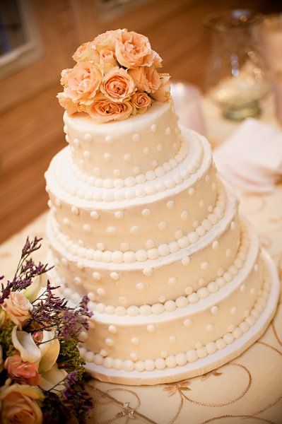 Ivory Pink Round Wedding Cake-simple and elegant. beautiful cake.