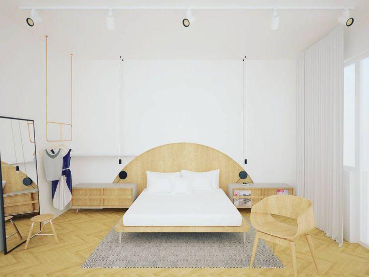 A madeira de um só tom garantiu o protagonismo neste quarto projetado pelo Another Studio para um apartamento em Sofia, na Bulgária. A cabeceira da cama e as luminárias pendentes também se destacaram no ambiente e deram mais personalidade para a decoração!