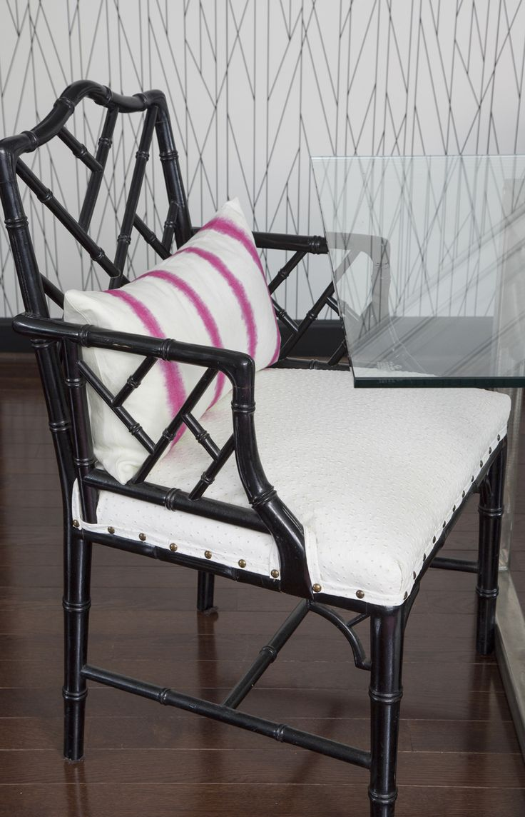 Vintage thonet style cafe chairs with stenciled seats - Chinese Chippendale Chair