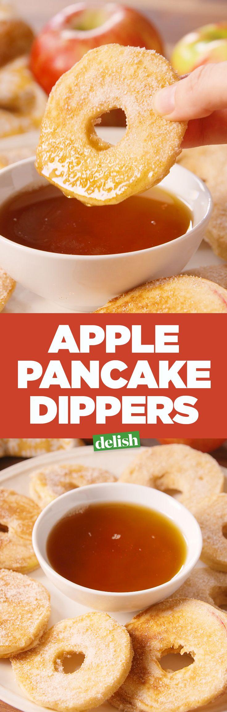 Apple pancake dippers = GENIUS! Get the recipe on Delish.com.