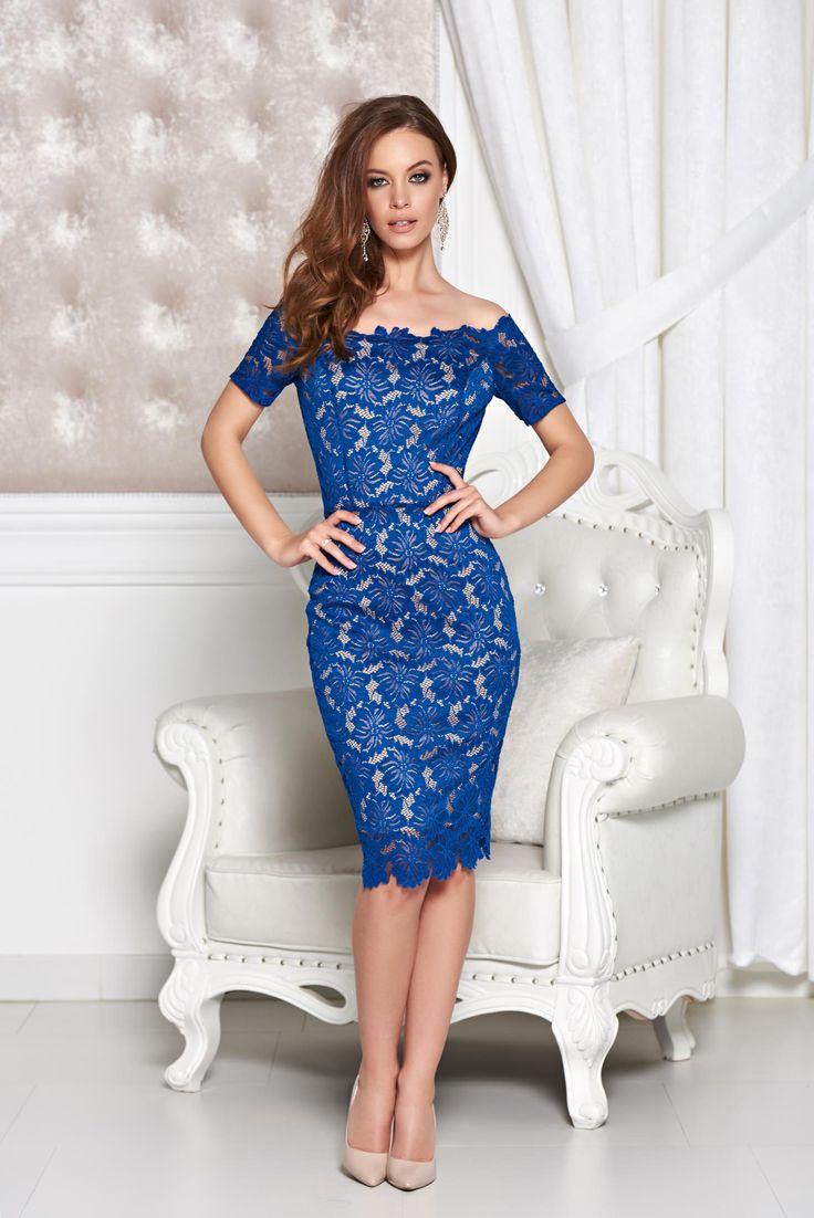 StarShinerS Prestige Enchantment DarkBlue Dress, back zipper fastening, short sleeves, lace overlay, form-fitting, laced fabric, slightly elastic fabric