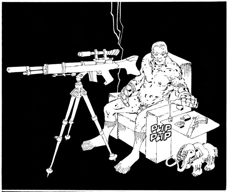 I just love the disgusting, comical incongruity of this image of a naked sniper in an easy chair. Oh, also, Miller may draw a lot of skeezy images of naked women, but I'll give him this: He's also totally unafraid to draw penises.