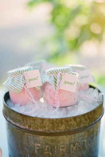 Ice cream for summer weddings :) with black and white striped fabric on tops of jars