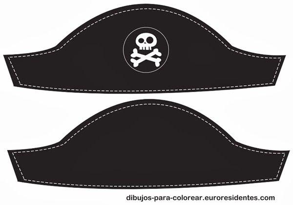 Free printable:  pirate hat. Sombrero pirata para imprimir http://manualidades.euroresidentes.com/2014/01/sombrero-pirata-para-imprimir.html