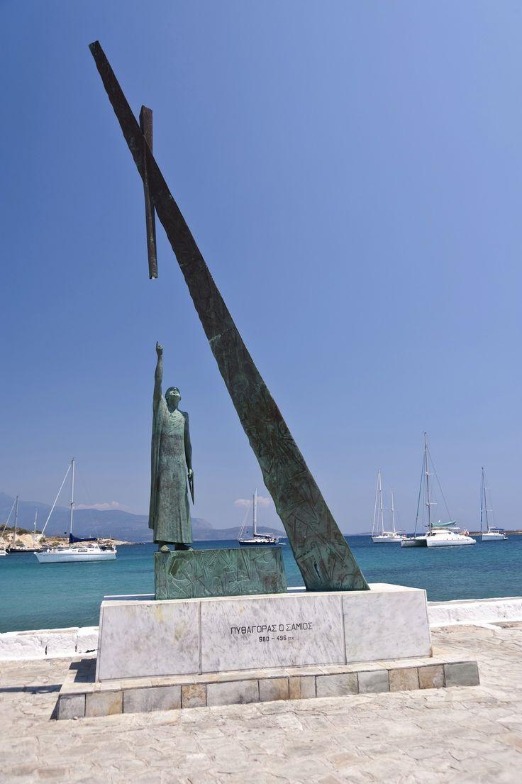 Statue of Pythagoras in Pythagorion, Samos Island, Greece