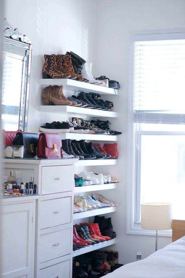 Floating Shoe Shelving In Closet Floatingshelvesshanty2chic