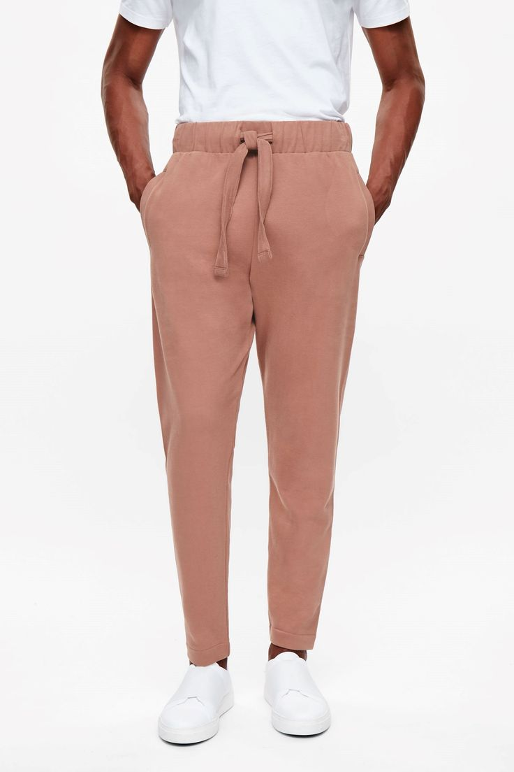 COS image 2 of Drawstring jersey trousers in Terracotta